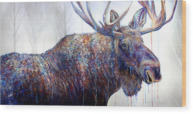 Moose Wood Print featuring the painting The Wanderer by Teshia Art