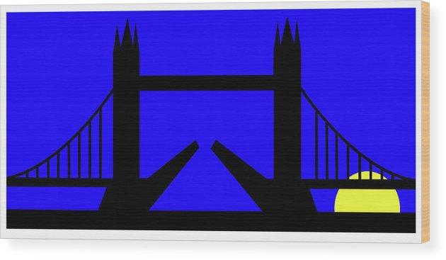Tower Bridge In The Morning Wood Print featuring the digital art Tower Bridge in the morning by Asbjorn Lonvig