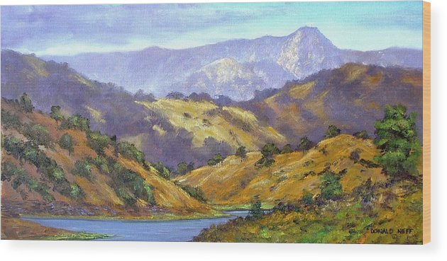 Mt Umunhum Wood Print featuring the painting Umunhum View 12x24 Oil by Donald Neff