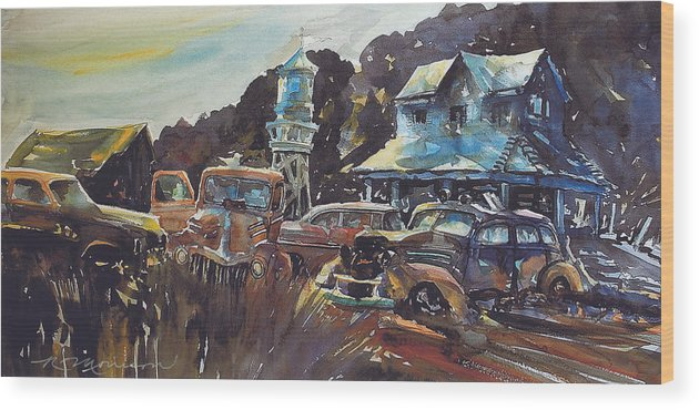 Old Cars Wood Print featuring the painting Water Tower Wardens by Ron Morrison