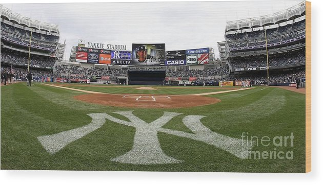 American League Baseball Wood Print featuring the photograph Chicago Cubs V New York Yankees by Nick Laham