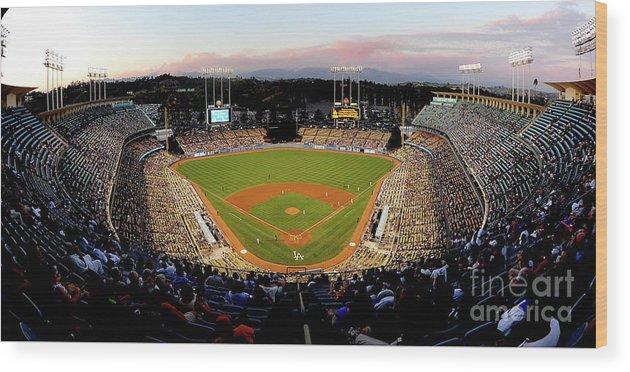 Panoramic Wood Print featuring the photograph Arizona Diamondbacks V Los Angeles by Jacob De Golish