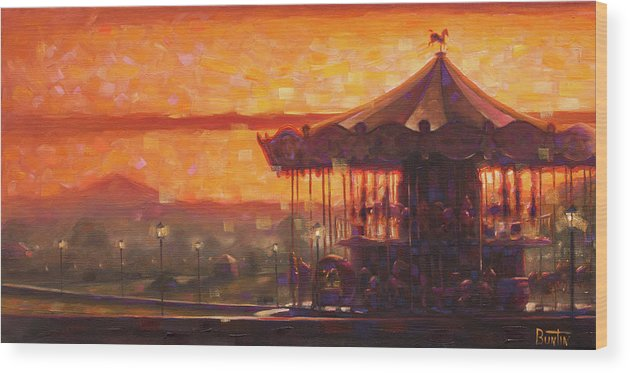 Travelart Wood Print featuring the painting Carousel of Honfleur by Rob Buntin