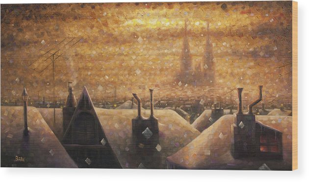 France Art Wood Print featuring the painting France Cathedral 4 by Rob Buntin