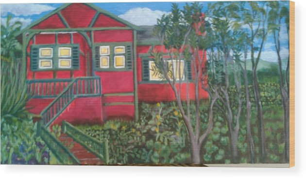 Painting Of House Wood Print featuring the painting Fresh yard by Andrew Johnson