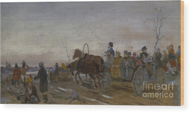 Panoramic Wood Print featuring the drawing Holy Saturday Evening, End 1860s-early by Heritage Images