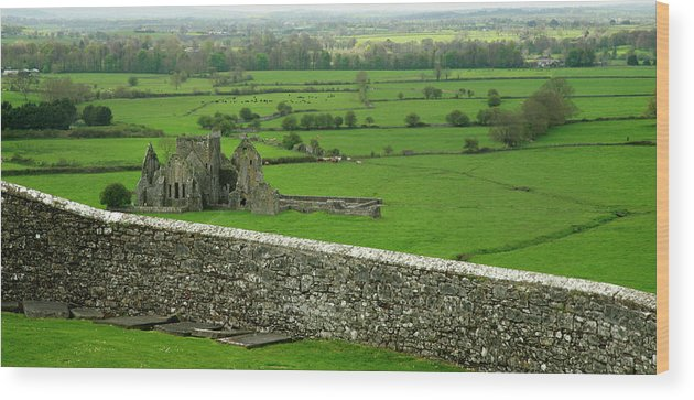 Scenics Wood Print featuring the photograph Ireland Country Scape With Castle Ruins by Njgphoto