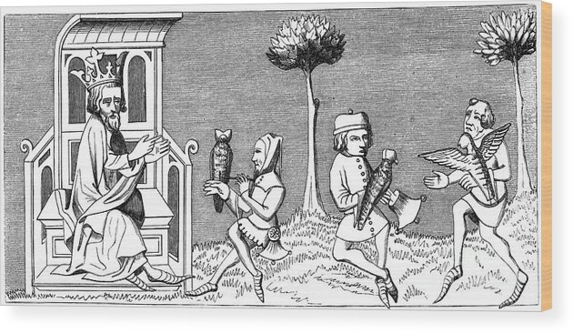 Engraving Wood Print featuring the drawing King Modus Teaching The Art by Print Collector