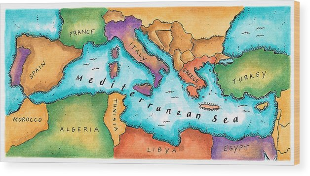 Tunisia Wood Print featuring the digital art Map Of Mediterranean Sea by Jennifer Thermes
