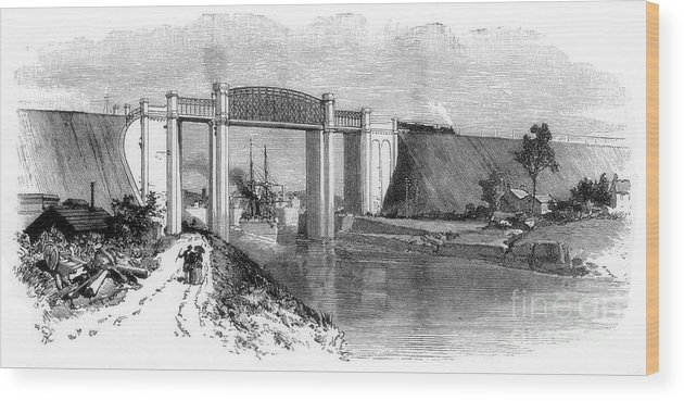 Engraving Wood Print featuring the drawing The Latchford Viaduct, Manchester Ship by Print Collector