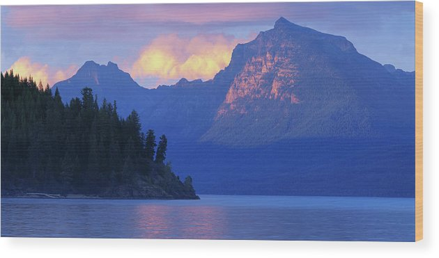 Scenics Wood Print featuring the photograph Usa, Montana, Glacier Np, Mountains by Paul Souders