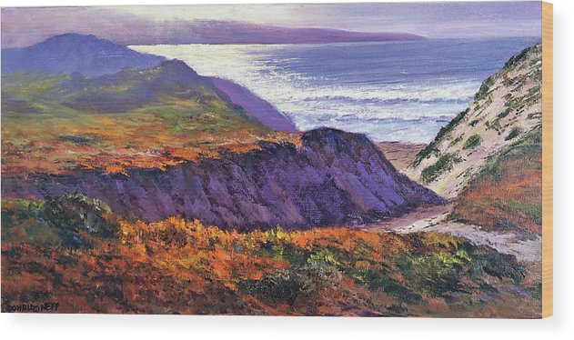 Seascape Wood Print featuring the painting Ft Ord Dunes by Donald Neff