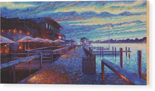 Georgetown South Carolina Coastal Harborwalk Big Tuna Landscape Seascape Charleston Wood Print featuring the painting Georgetown Harborwalk by Rob Buntin