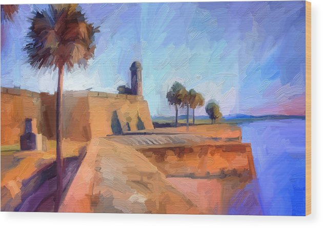 St. Augustine Wood Print featuring the digital art Castillo Rampart by Scott Waters