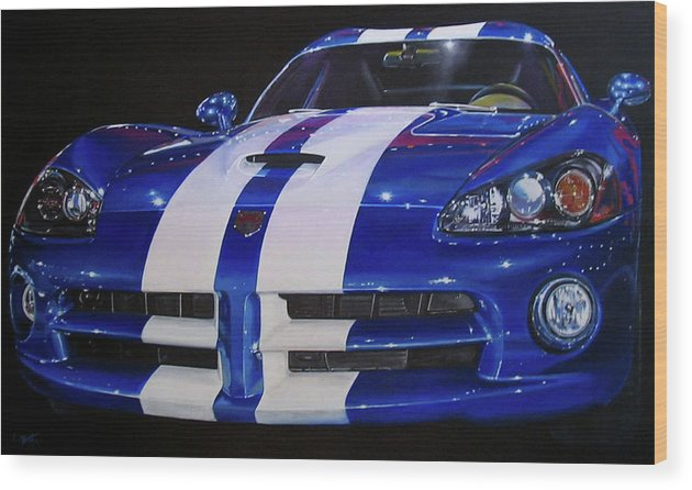 Car Wood Print featuring the painting Snake Eyes by Lynn Masters