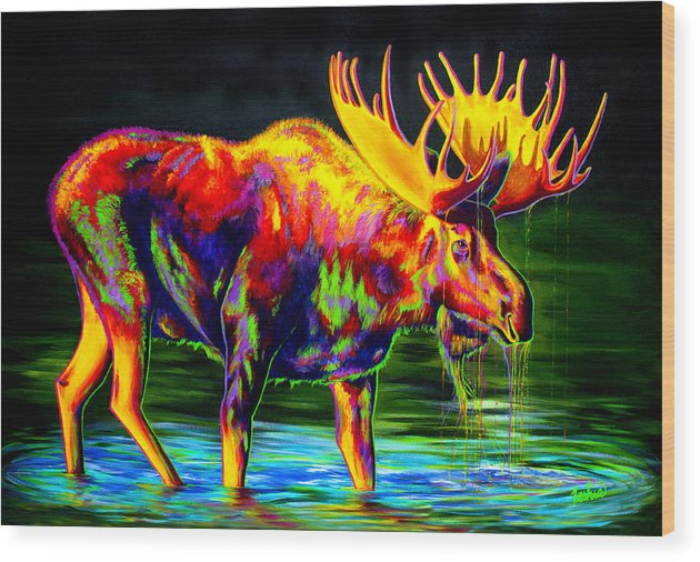 Moose Wood Print featuring the painting Motley Moose by Teshia Art