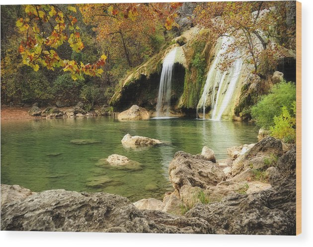 Waterfalls Wood Print featuring the photograph Autumn in Turner Falls by Iris Greenwell