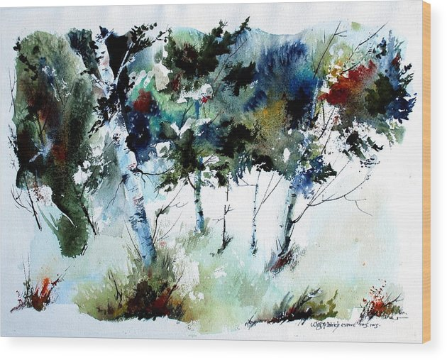 Abtract Forest Trees Wood Print featuring the painting How Green Was MY Valley by Wilfred McOstrich