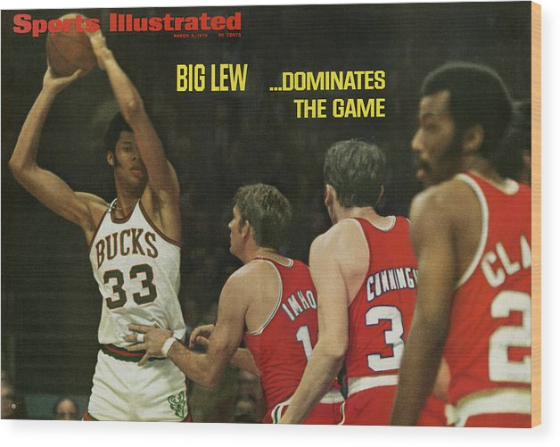 Magazine Cover Wood Print featuring the photograph Big Lew . . . Dominates The Game Sports Illustrated Cover by Sports Illustrated