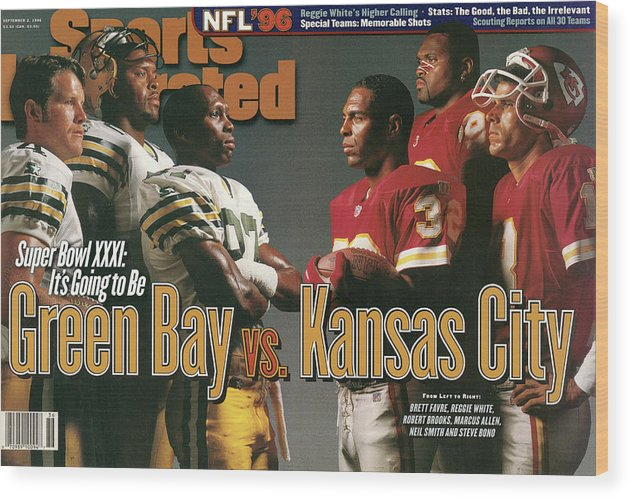 Green Bay Wood Print featuring the photograph Green Bay Packers And Kansas City Chiefs, 1996 Nfl Football Sports Illustrated Cover by Sports Illustrated