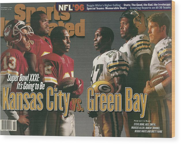 Brett Favre Wood Print featuring the photograph Kansas City Chiefs Vs Green Bay Packers, 1996 Nfl Football Sports Illustrated Cover by Sports Illustrated