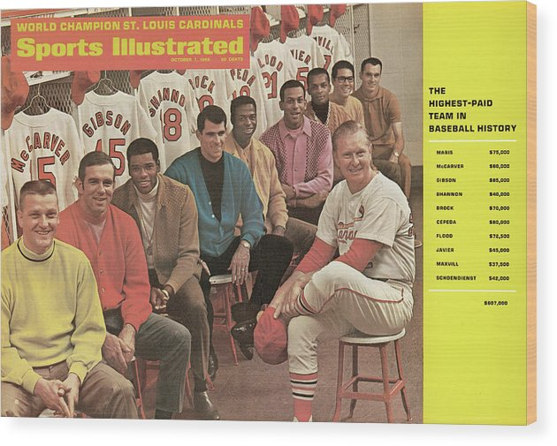 St. Louis Cardinals Wood Print featuring the photograph St. Louis Cardinals, 1968 World Series Champions Sports Illustrated Cover by Sports Illustrated