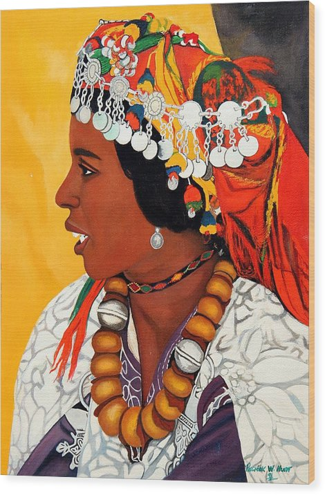 African American Art Wood Print featuring the painting African Beauty by Patrick Hunt