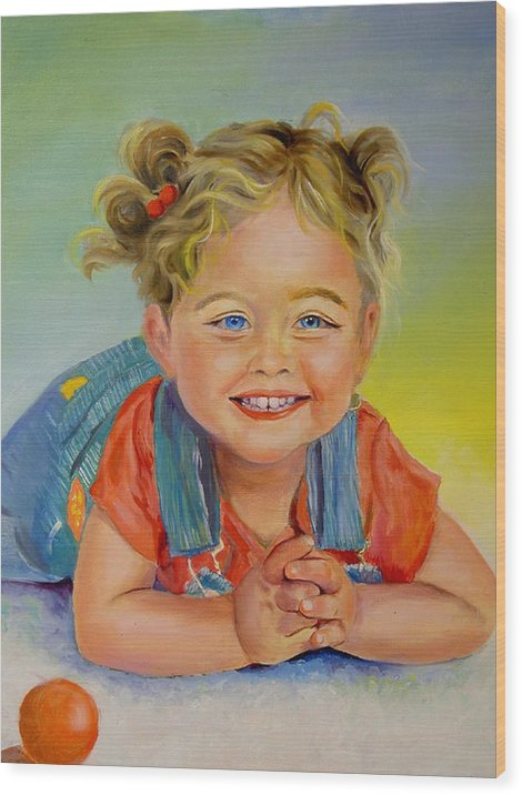 Portrait Wood Print featuring the print Herbs Grandaughter by George Markiewicz
