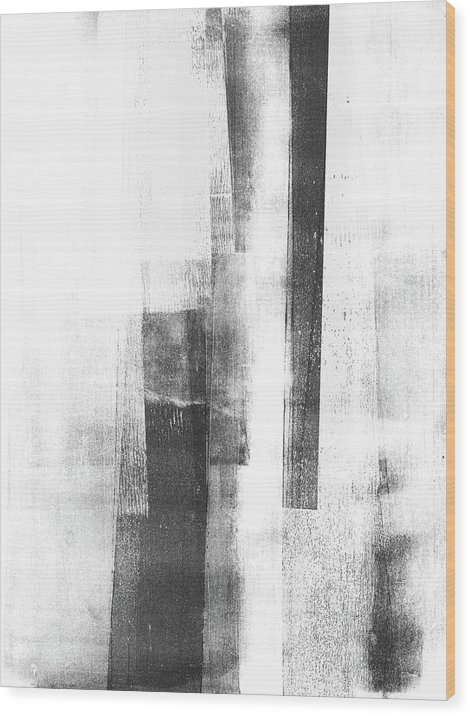 Black And White Wood Print featuring the painting Structure 2 by Janine Aykens