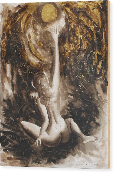 Nude Wood Print featuring the painting The Sunworshipping One by Michael Price