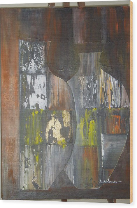 Vases Wood Print featuring the painting Two Vases by Maritza Bermudez