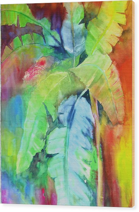 Tropical Tree Wood Print featuring the painting Banana Leaves by Maritza Bermudez