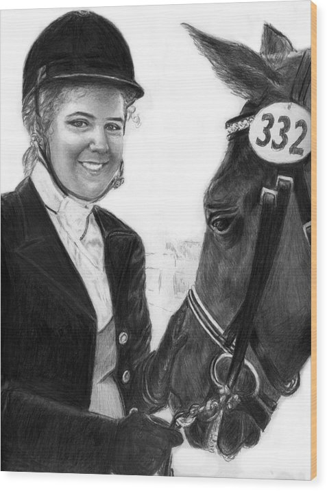 Horseequestrian Wood Print featuring the drawing Amira And Perias by Carliss Mora