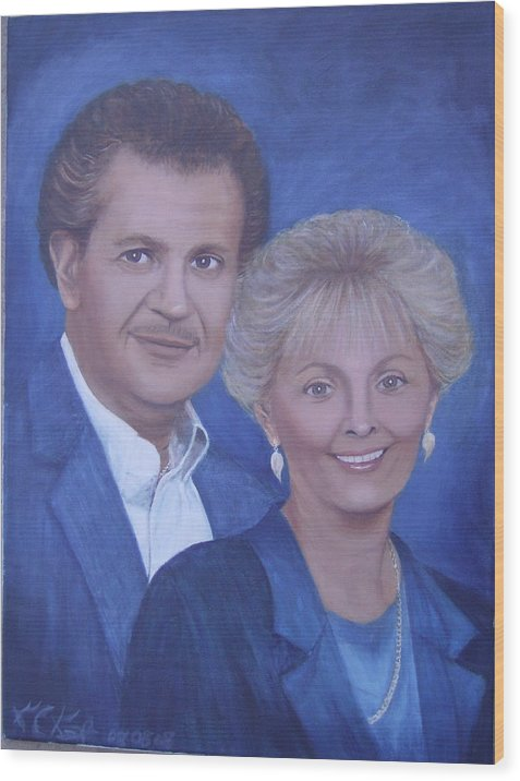 Portraits Wood Print featuring the painting Jane And Ray by KC Knight