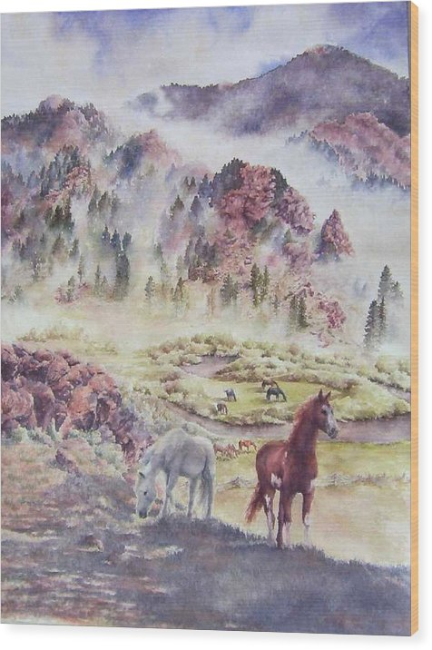 Horses Wood Print featuring the painting Out Of The Mist by Barbara Widmann