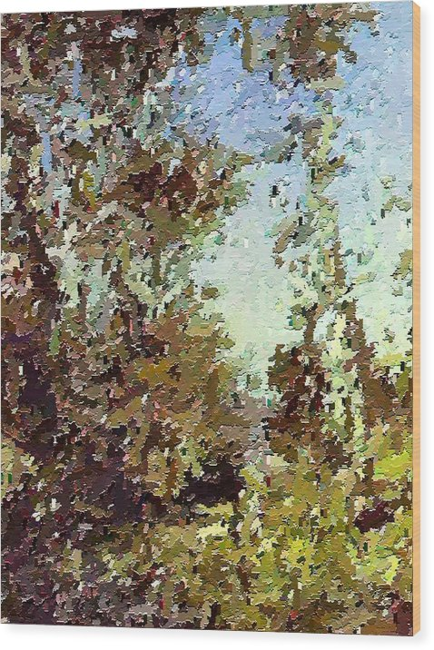 Abstract Wood Print featuring the painting Trees In The Back Yard by Don Phillips