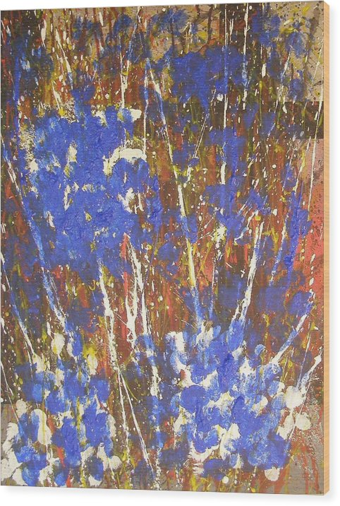 Abstract Wood Print featuring the painting Blue Flowers by Don Phillips