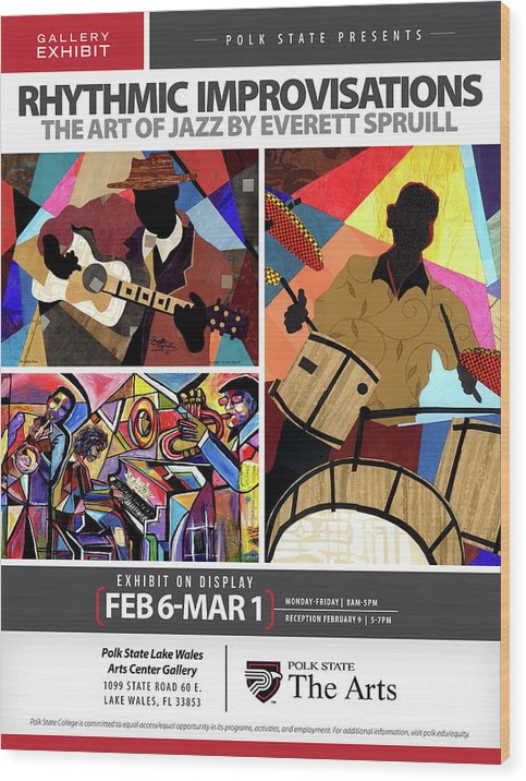 Everett Spruill Wood Print featuring the mixed media Rhythmic Improvisations - The Art of Jazz by Everett Spruill