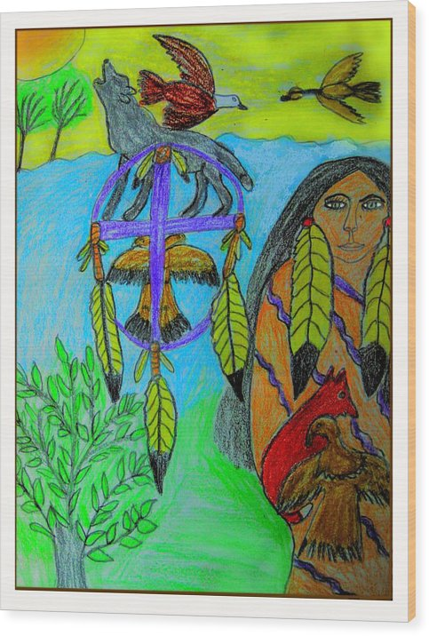 Dream Catchers Wood Print featuring the drawing Natural Dream Catcher by Betty J Roberts