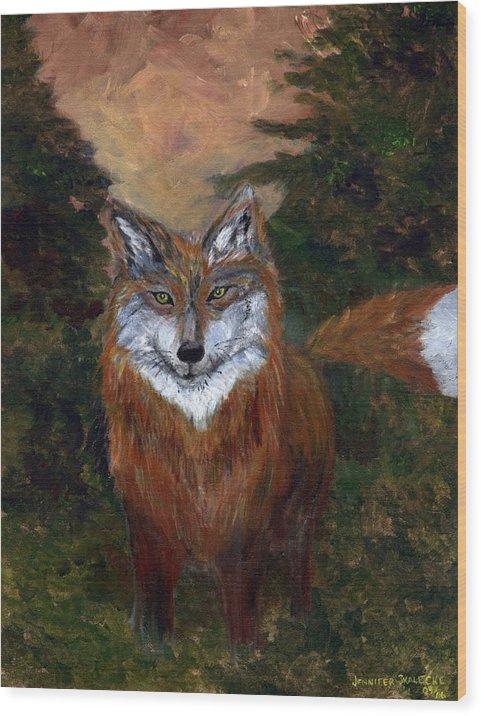 Foxes Wood Print featuring the painting Red Fox - www.jennifer-d-art.com by Jennifer Skalecke