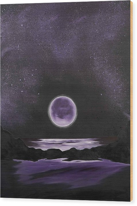 Landscape Wood Print featuring the painting Silence of the Night by Ara Elena