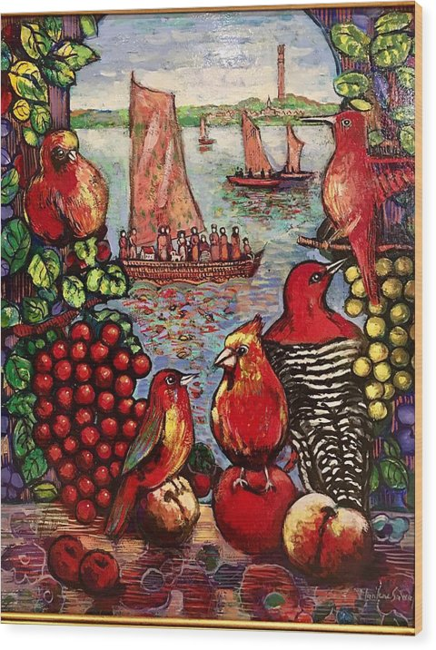 Birds Wood Print featuring the painting Birds and immigrants in red by Marilene Sawaf
