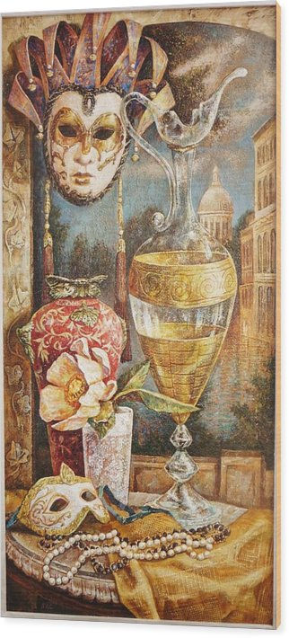 Venice Mask Decoration Of A Vase Of Flowers Still Life Wood Print featuring the mixed media Venice by Alexander Ytckobzki