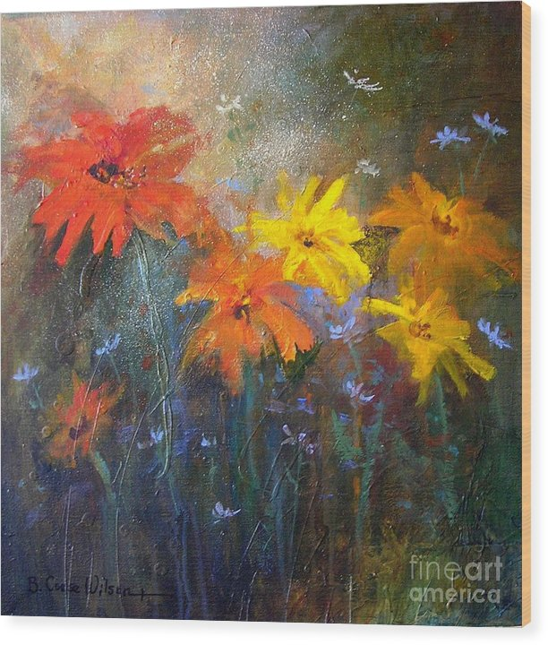Floral Wood Print featuring the painting Flowers Of The Field by Barbara Couse Wilson