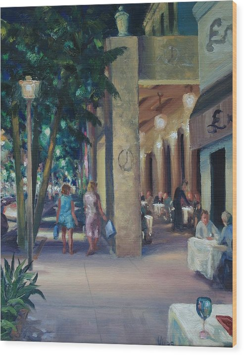 Cityscape Wood Print featuring the painting Night Shoppers by Michael Vires