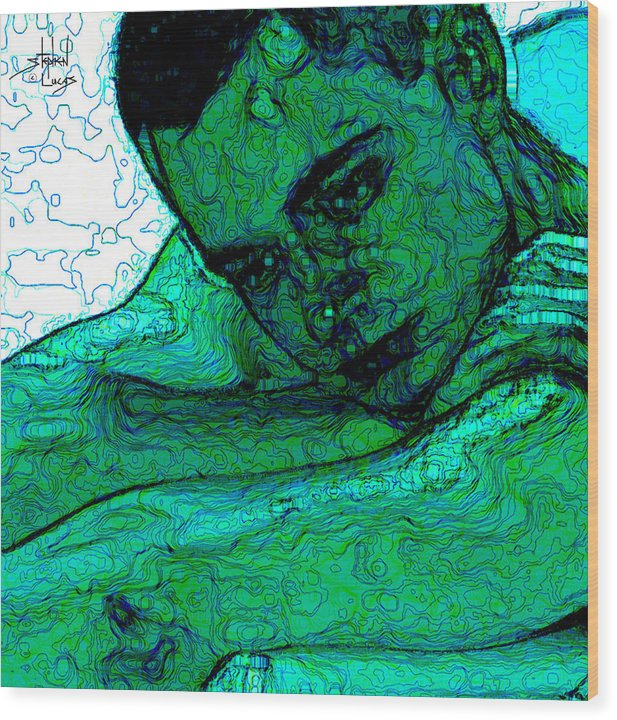 Abstract Wood Print featuring the digital art Turquoise Man by Stephen Lucas