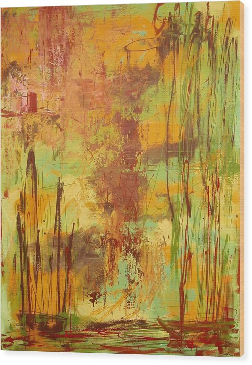 Abstract Wood Print featuring the painting Liquid Bronze by Maritza Bermudez