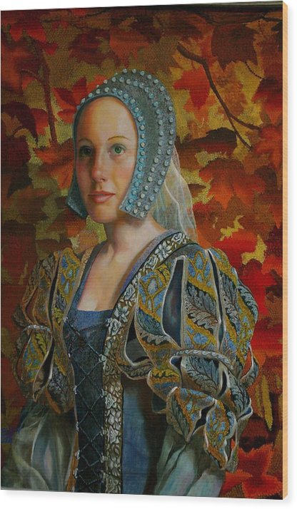 Costume Lady Wood Print featuring the painting Automne Tapisserie by RC Bailey