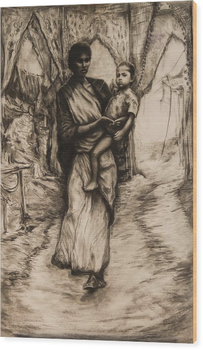 India Mother Child Relationship Caring Bond Anxious Surreal Madonna Wood Print featuring the drawing Mother And Child by Tim Thorpe