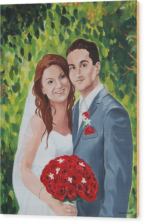 Wedding Wood Print featuring the painting Their Wedding Day by Judy Swerlick